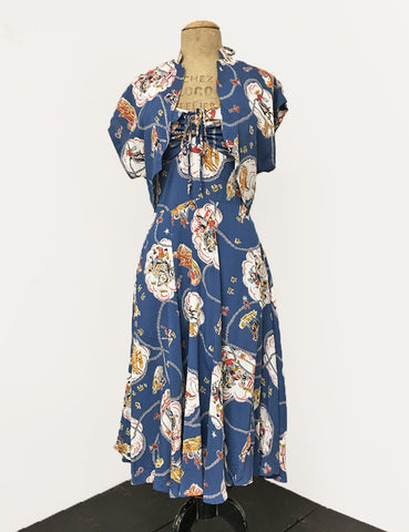 Denim Blue Vintage Western Print 1940s Inspired Marta Halter Swing Dress