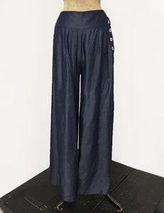 Chambray Denim Retro 1940s Style High Waisted Palazzo Pants - FINAL SALE
