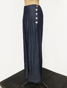 Chambray Denim Retro 1940s Style High Waisted Palazzo Pants
