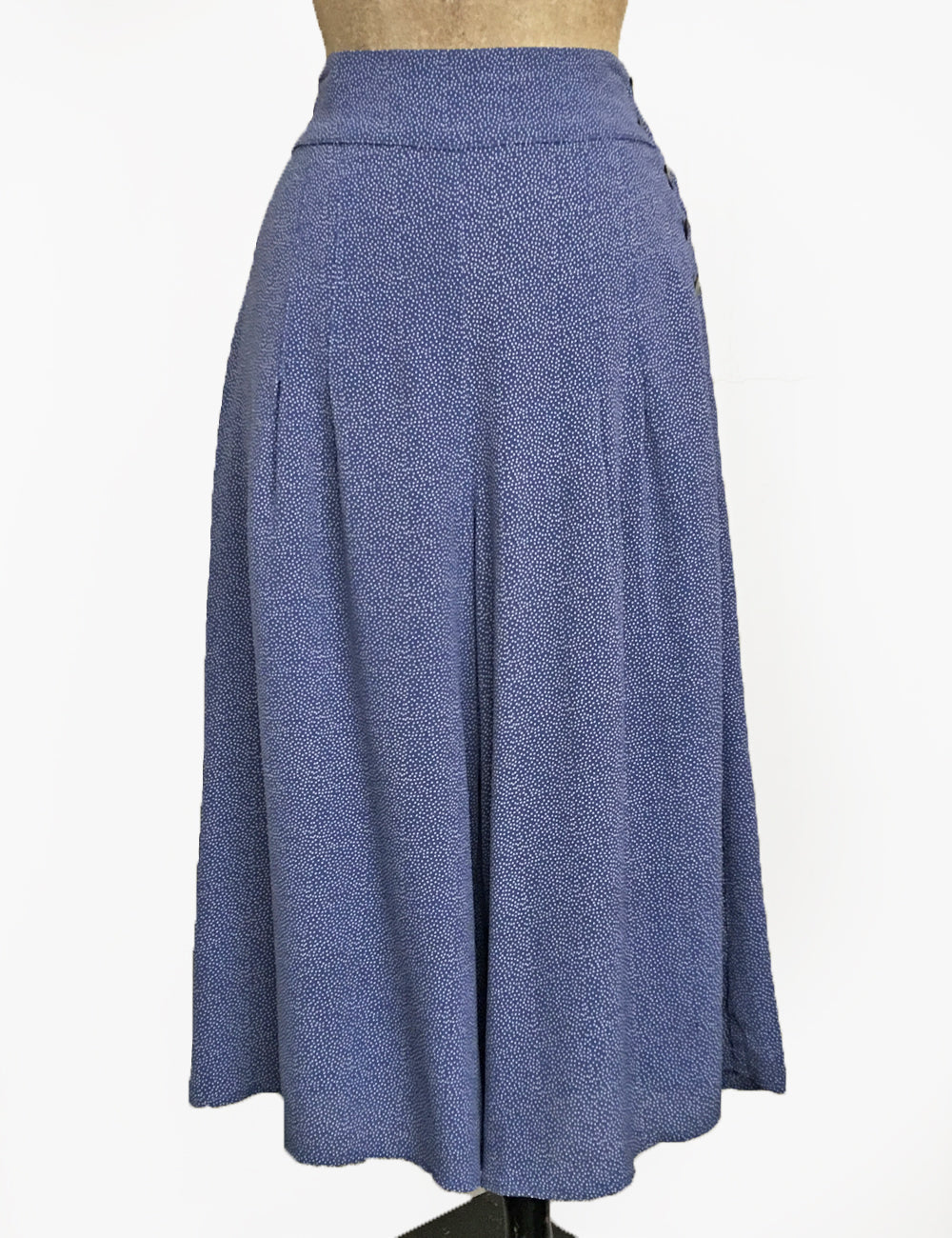 Denim Blue Pixie Dot High Waisted Wide Leg Culottes