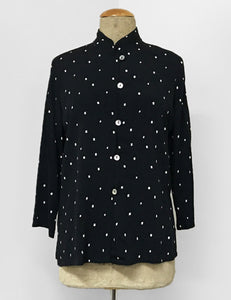Black & White Square Dot Button Up Mandarin Blouse