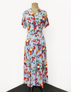 Doris Mayday for Loco Lindo - Blue Fruit Cocktail Short Sleeve Tea Length Vintage Day Dress
