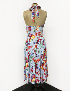 Doris Mayday for Loco Lindo - Blue Fruit Cocktail Mayday Halter Swing Dress