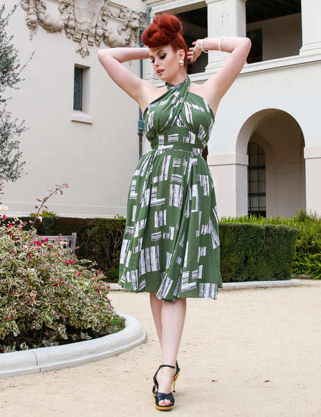 Doris Mayday for Loco Lindo - Green City Blocks Halter Retro Swing Dress
