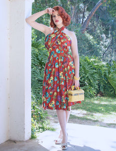 Doris Mayday for Loco Lindo - Rust Red Star of the Sea Mayday Halter Swing Dress