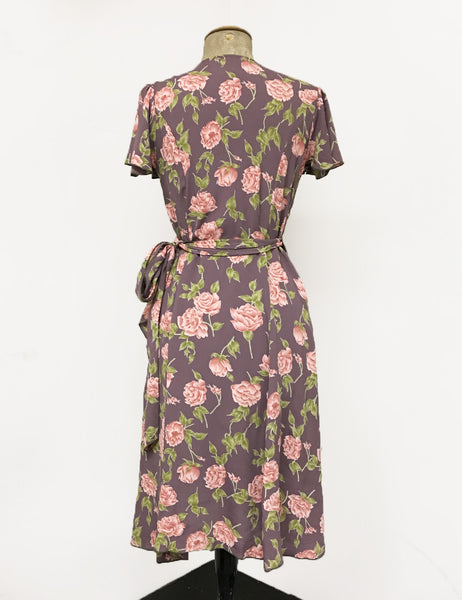 Dusty Lavender Roses Biasa Sweetheart Wrap Dress