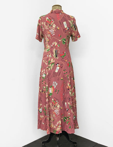 1940s Vintage Tea Length Short Sleeve Day Dress in Dusty Rose Exclusive California Map Print