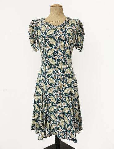 Teal Egyptian Fan Print 1930s Venice Beach Balboa Swing Dress