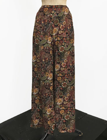 Fall Paisley Print Soft Rayon 1940s Style High Waisted Palazzo Pants