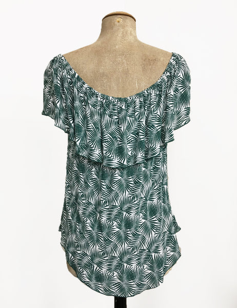 Green Fern Print Ruffle Top Dolores Peasant Blouse