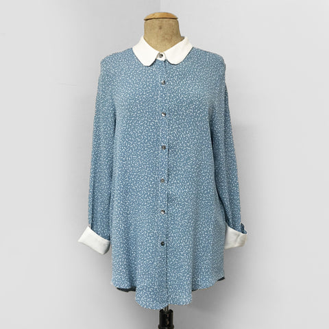Blue Frosted Dot Peter Pan Collar Blouse - FINAL SALE