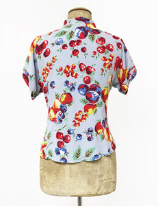 Doris Mayday for Loco Lindo - Blue Fruit Cocktail Amanda Tie Blouse