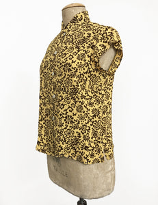 Gold & Brown Scroll Print Mandarin Collar Button Up Tea Timer Top