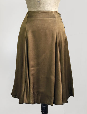 Golden Olive Green Satin Venice Beach Balboa Circle Swing Skirt