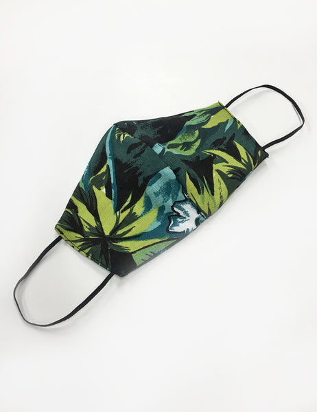 Green Aloha Floral Handmade Washable Face Mask