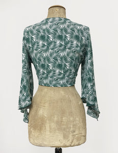 Green & White Tropical Fern Print Angel Wing Tie Top - FINAL SALE