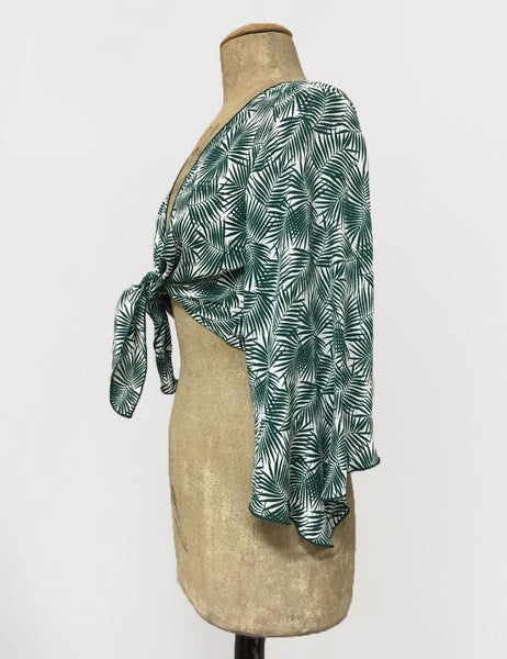 Green & White Tropical Fern Print Angel Wing Self Tie Cover Up Top