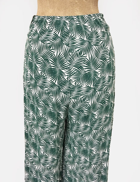 Green & White Tropical Fern Print 1940s Style High Waisted Palazzo Pants