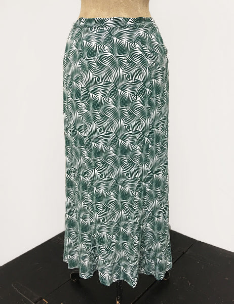 Green & White Tropical Fern Print 1940s Style Button Front Jade Skirt