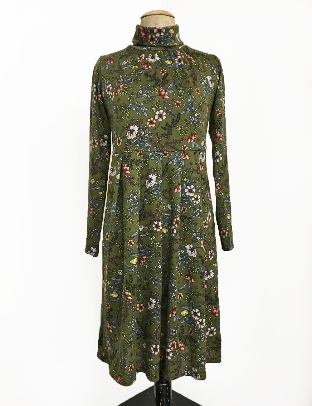 Cozy Green Floral Turtleneck Stretch Knit Mod Pullover Dress