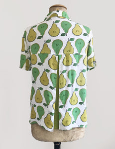 Green Fruity Pear Print Button Up Short Sleeve Camp Shirt