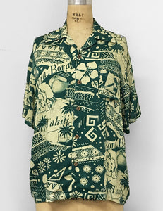 Green South Seas Soft Men's Button Up Tiki Sonny Shirt