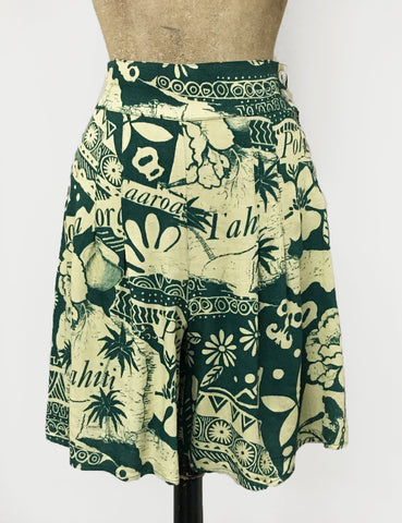 Green South Seas Print Soft High Waisted Retro Shorts
