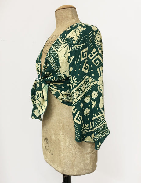 Green South Seas Soft Angel Wing Self Tie Cover Up Crop Top