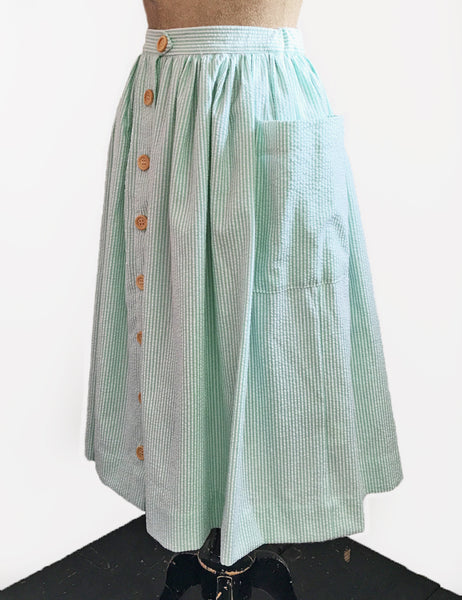 Scout for Loco Lindo Green Seersucker 1940s Button Front Petunia Skirt