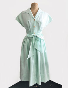 PREORDER - Scout for Loco Lindo 1940s Style Green Seersucker Willow Dress
