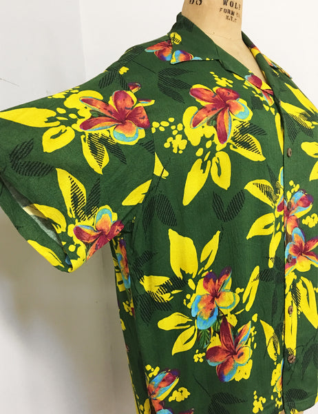 Neon Hawaiian Tropical Print Soft Rayon Button Up Sonny Men's Shirt