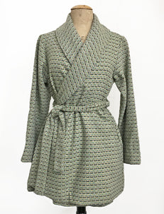 Green Southwestern Wool Shawl Collar Robe Coat - FINAL SALE