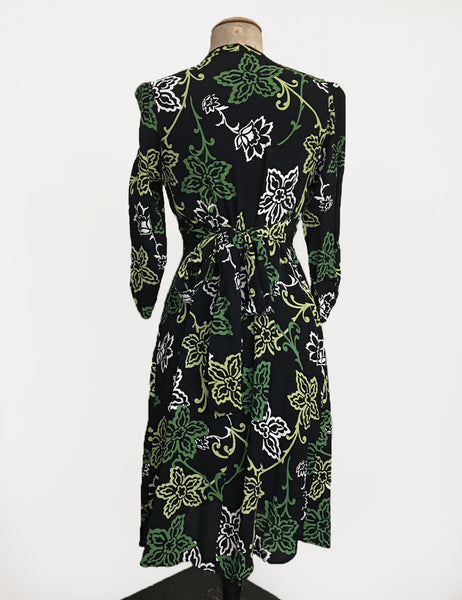 Green Floral Stencil Print 3/4 Sleeve Retro 40s Dress