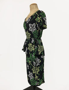 Black & Green Stencil Floral Peplum Lena Wiggle Dress