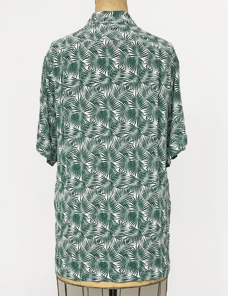 Green & White Fern Print Print Men's Sonny Button Up Tiki Shirt