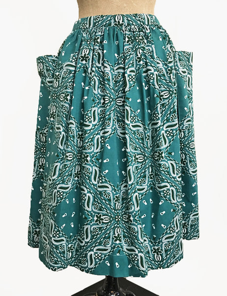 Scout for Loco Lindo Teal Green Bandana Print 1940s Petunia Skirt