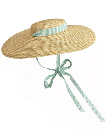 Green Seersucker Vintage Style Woven Large Brim Straw Hat