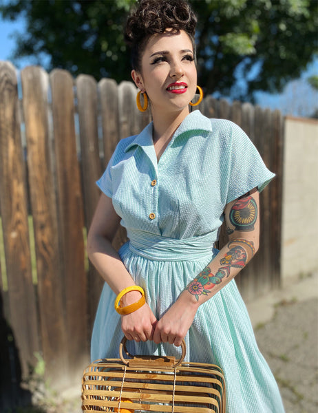 Scout for Loco Lindo 1940s Style Green Seersucker Willow Dress