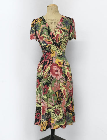 Colorful Gypsy Sheer Floral Print Retro Rita Dress