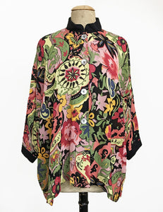 Sheer Gypsy Floral Button Up Luna Kimono Blouse