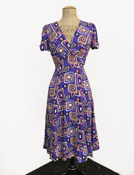 Purple Mid Century Halloween Candy Corn Squares Retro Rita Dress