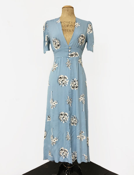 500 Vintage Style Dresses for Sale | Vintage Inspired Dresses 1930s Style Powder Blue Stencil Floral Harlow Peignoir Robe $158.00 AT vintagedancer.com
