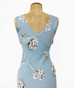 1930s Style Powder Blue Stencil Floral Harlow Slip Dress