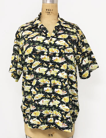 Black Hawaiian Island Cotton Button Up Mens Sonny Shirt