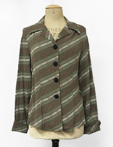 Olive Green & Burgundy Plaid Button Up 1940s Hepburn Blouse