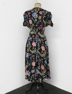 1940s Style Black & Colorful Indochine Print Cascade Wrap Dress