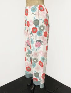 Ivory Colorful Mum Print Louise Lounge Capri Pants