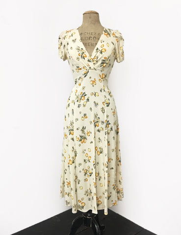 Ivory & Yellow Lemon Print Vintage Inspired Tea Length Rita Dress