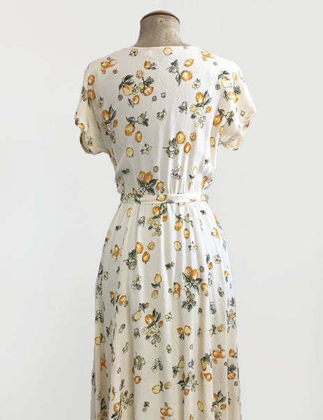 Vintage Style Ivory Lemon Print Megan Cowl Neck Dress
