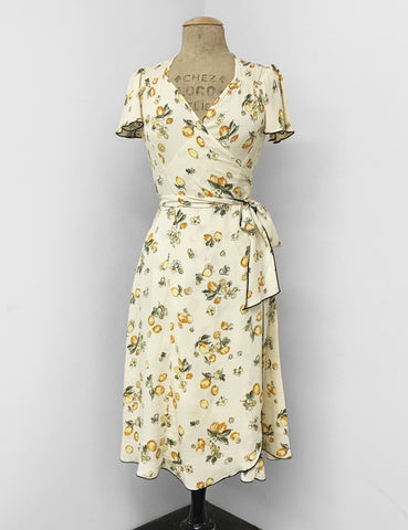 Vintage Inspired Ivory Lemon Print Biasa Sweetheart Wrap Dress